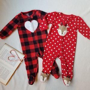 Baby girl footie fleece pajamas